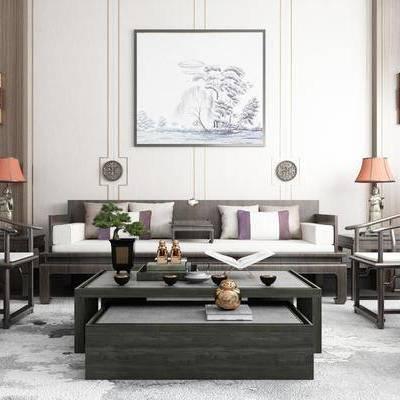 沙发组合, 多人沙发, 茶几, 边几, 台灯, 壁灯, 装饰画, 挂画, 单人沙发, 摆件, 装饰品, 陈设品, 新中式