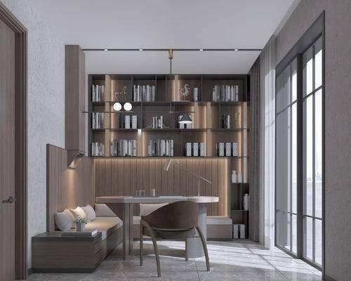桌椅组合, 吊灯, 书柜
