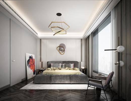 卧室, 床具组合, 墙饰, 现代