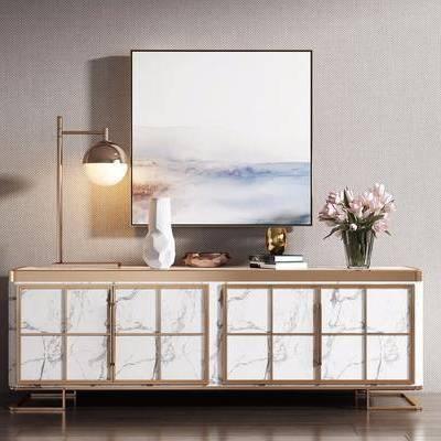 边柜, 装饰柜, 台灯, 装饰画, 挂画, 花瓶花卉, 摆件, 装饰品, 陈设品, 玄关柜, 现代轻奢