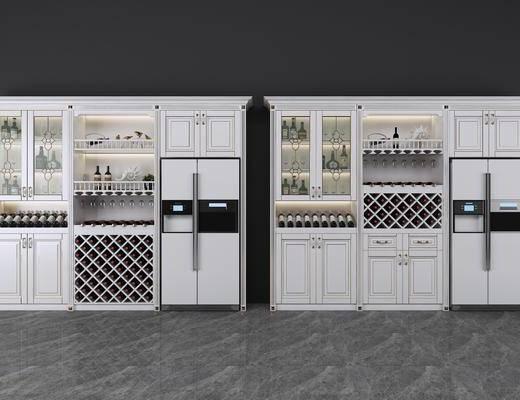 酒柜, 装饰柜, 酒瓶, 冰箱, 酒柜组合, 简欧