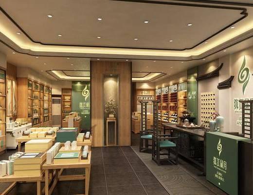 新中式茶叶店, 展柜, 中岛柜