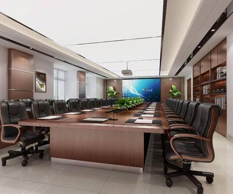 会议室, 桌椅组合, 屏幕, 文件柜