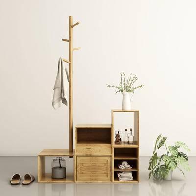 现代, 北欧, 禅意, 鞋柜, 衣架, 盆栽, 花瓶