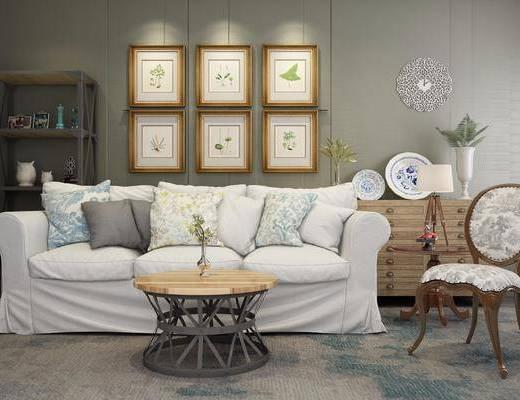沙发组合, 多人沙发, 茶几, 单人椅, 组合画, 边柜, 装饰架, 摆件, 装饰品, 陈设品, 美式简约