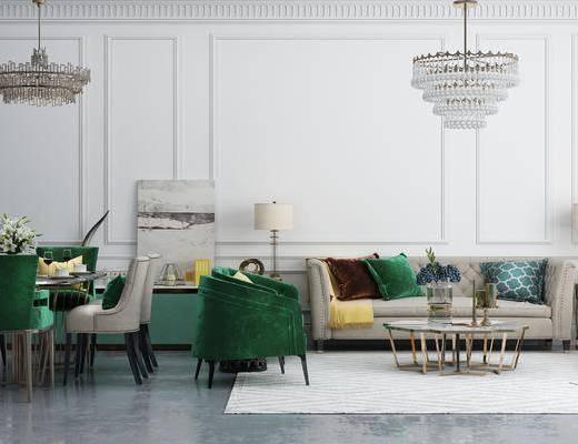 沙发组合, 多人沙发, 茶几, 吊灯, 单人沙发, 边几, 台灯, 餐桌, 餐椅, 单人椅, 餐具, 边柜, 摆件, 装饰品, 陈设品, 装饰画, 挂画, 现代轻奢