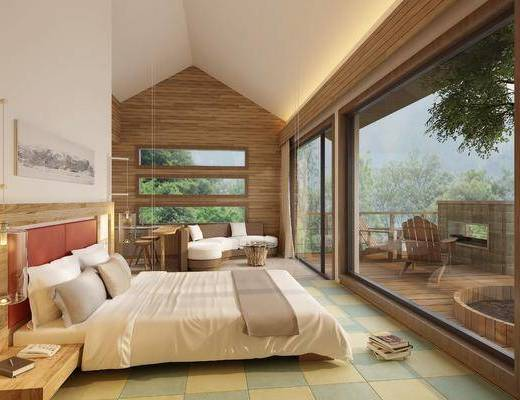 民宿客房, 卧室, 床具组合, 沙发组合, 现代