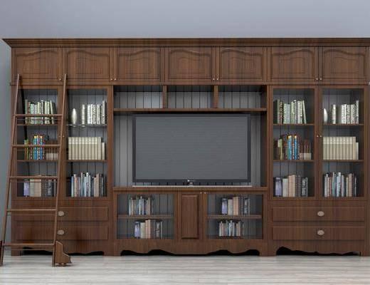 电视柜组合, 书架, 书柜, 电视背景墙, 书籍, 装饰品, 陈设品, 美式