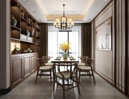 餐厅, 桌椅组合, 餐桌, 餐椅, 单人椅, 餐具, 装饰画, 挂画, 吊灯, 装饰柜, 摆件, 装饰品, 陈设品, 中式