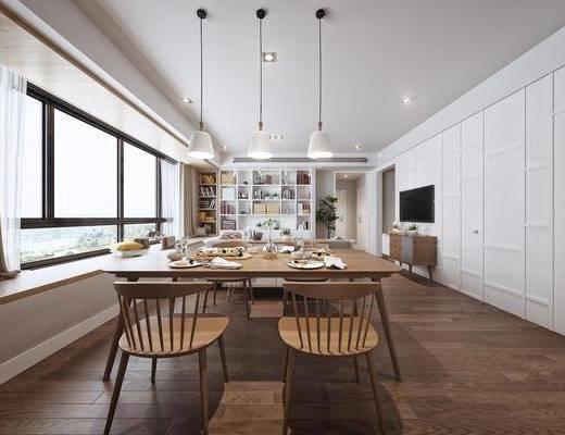 现代客餐厅, 餐桌, 单椅, 边柜, 多人沙发, 现代