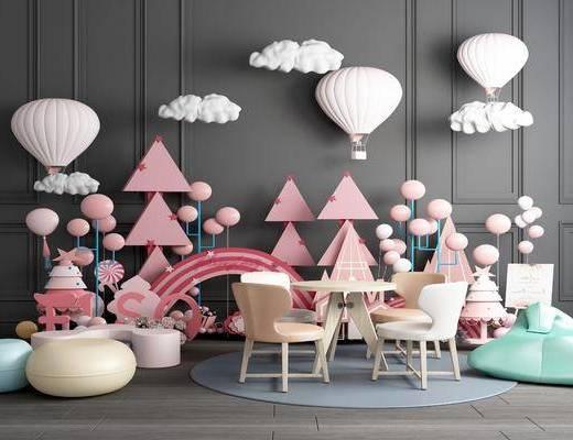 玩具, 气球, 云朵, 沙发, 热气球, 装饰品摆件