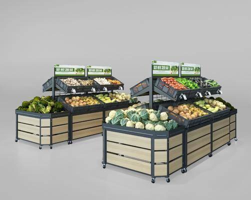 超市, 货架, 组合