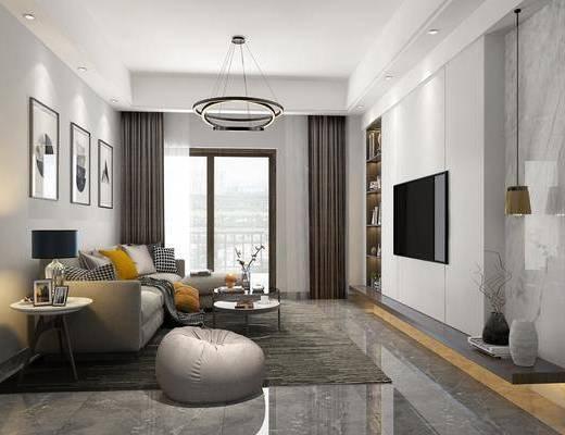 客厅, 多人沙发, 转角沙发, 茶几, 边几, 台灯, 单人沙发, 吊灯, 装饰画, 挂画, 组合画, 书柜, 装饰柜, 书籍, 摆件, 装饰品, 陈设品, 现代
