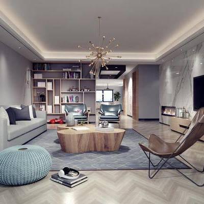 现代客厅, 现代沙发, 沙发组合, 沙发茶几组合