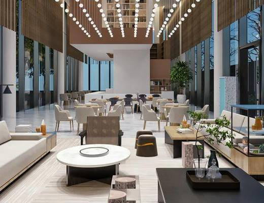 售楼处, 桌椅组合, 沙发组合, 吊灯, 盆栽绿植