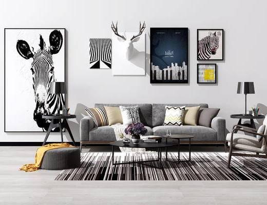 现代沙发茶几组合, 北欧沙发茶几组合, 现代挂画, 北欧挂画, 照片墙