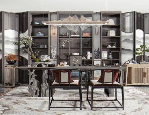 书桌椅, 单椅, 吊灯, 屏风, 书柜, 展示柜, 边柜, 盆栽