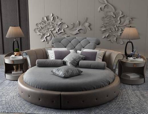 圆床, 墙饰, 床具组合, 台灯