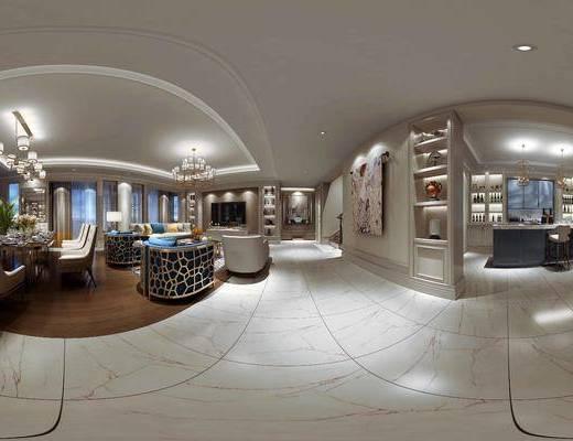 美式, 客厅, 餐厅, 全景, 沙发, 吊灯