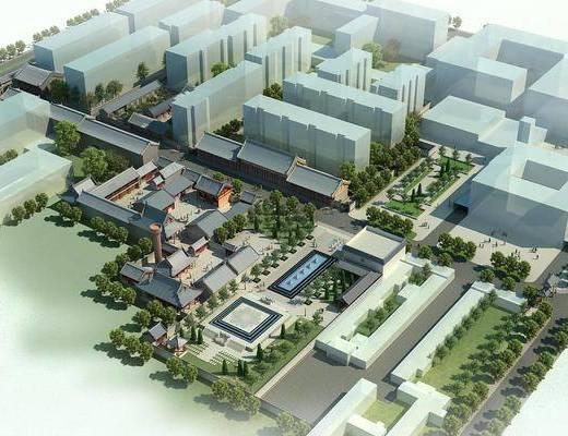 鸟瞰, 建筑, 中式建筑