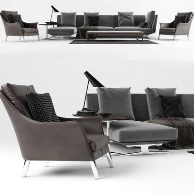 沙发组合, 现代, 沙发, 茶几, 边几, 台灯, 单人沙发, 多人沙发