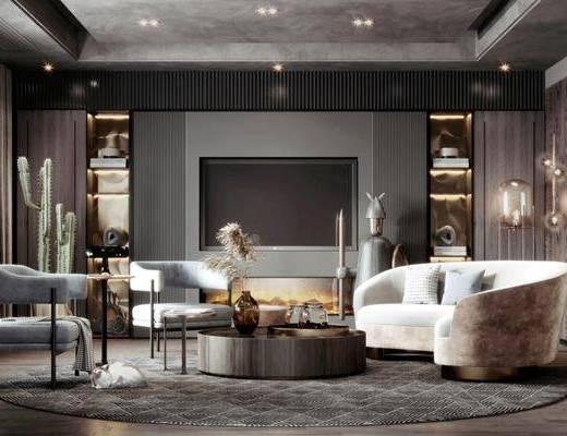 沙发组合, 茶几, 摆件组合, 单椅, 壁灯