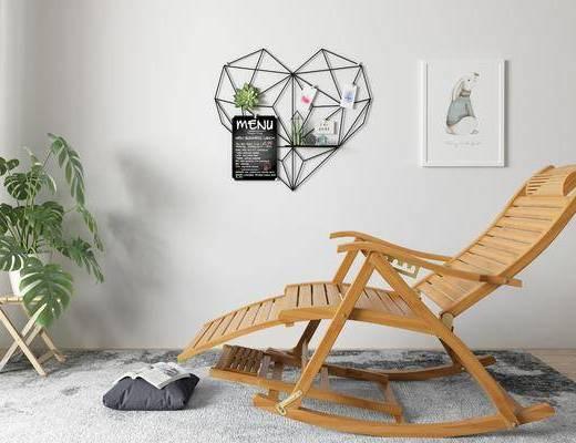 盆栽, 摇椅, 单椅, 装饰画, 植物