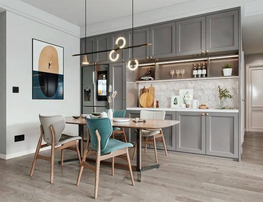 餐厅, 餐桌, 桌椅组合, 吊灯, 挂画, 橱柜组合, 酒柜, 冰箱
