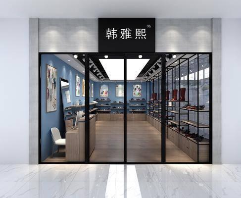 服装店, 门面门头, 装饰架, 鞋架, 装饰画, 挂画, 鞋子, 前台, 现代