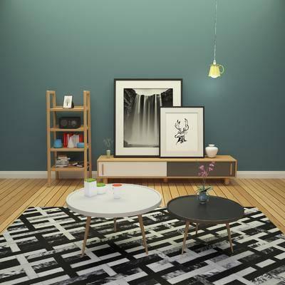 电视柜, 茶几, 装饰画, 挂画, 装饰架, 陈设品, 摆件, 吊灯