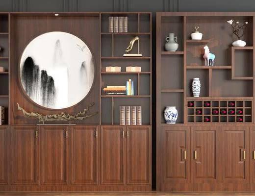 酒柜, 装饰柜, 盆栽, 摆件组合