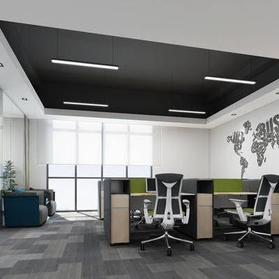 现代, 办公室, 办公区, 办公桌, 办公椅, 办公用品, 墙饰, 单人沙发