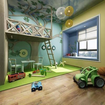 儿童游玩室, 儿童房, 桌子, 单人椅, 吊灯, 玩具, 玩偶, 现代