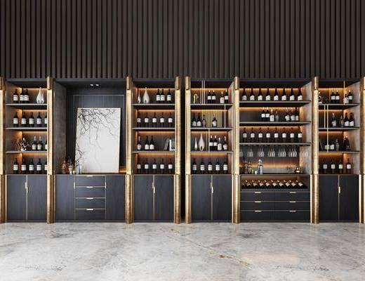 酒柜组合, 酒瓶, 装饰柜, 装饰画, 挂画, 现代轻奢