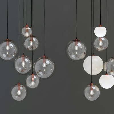 吊灯, 金属玻璃吊灯, 现代