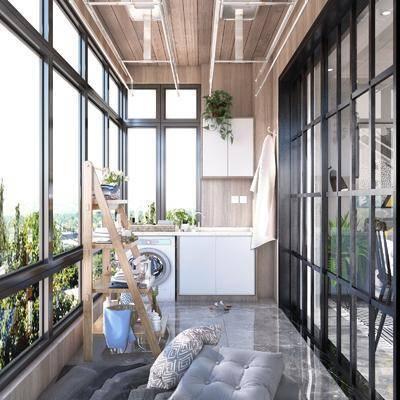 北欧阳台, 阳台露台, 吊椅, 置物架组合