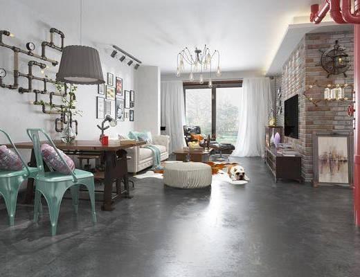 客厅, 餐厅, 多人沙发, 脚踏沙发, 单人沙发, 电视柜, 装饰柜, 边柜, 餐桌, 单人椅, 吊灯, 装饰画, 挂画, 照片墙, 墙饰, 工业风