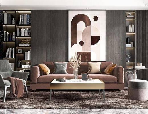 沙发, 茶几, 椅子, 角几, 书柜, 挂画