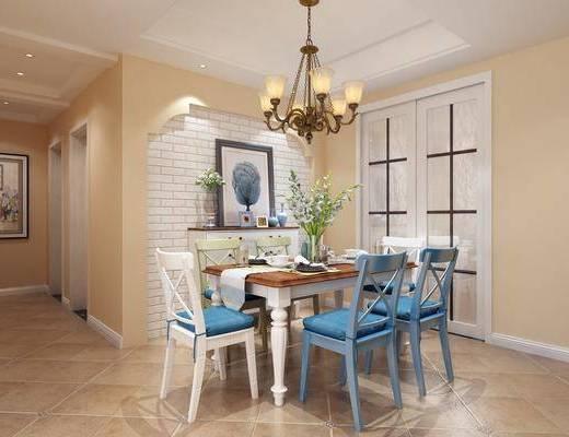 美式餐厅, 餐桌椅, 桌椅组合, 美式餐桌