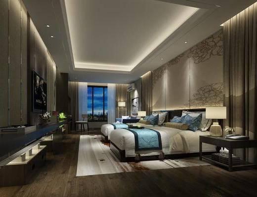酒店客房, 雙人床, 床頭柜, 臺燈, 單人椅, 落地燈, 裝飾畫, 擺件, 裝飾品, 陳設品, 中式