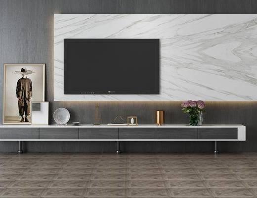 电视柜组合, 摆件组合, 现代
