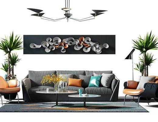 盆景, 植物, 吊灯, 椅子, 地毯, 画, 装饰画, 布艺沙发, 现代客厅