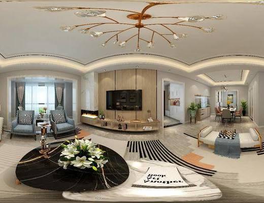 电视柜, 吊灯, 茶几, 沙发组合, 单椅, 摆件组合