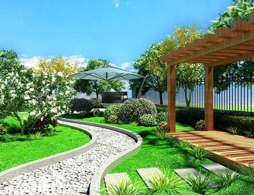 园林, 景观, 花园, 庭院, 室外