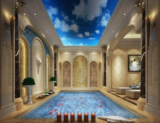 游泳池, 壁灯, 盆栽, 装饰画, 挂画, 凳子, 墙饰, 欧式