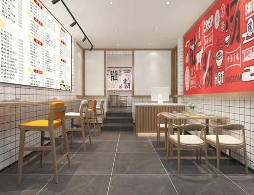 现代, 餐馆, 餐桌, 餐椅, 招牌, 吧椅, 收银台