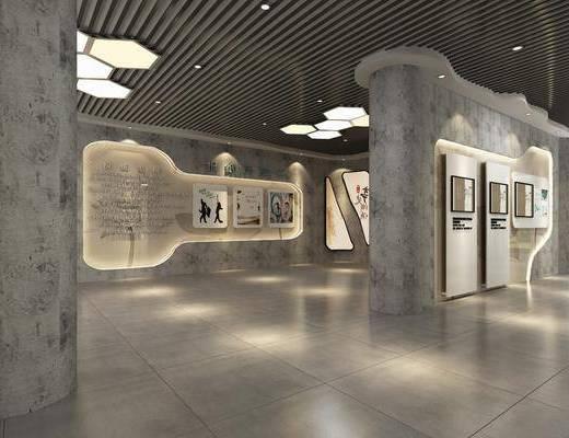 展厅展馆, 展览展厅, 博物馆, 盆栽, 绿植植物, 中式