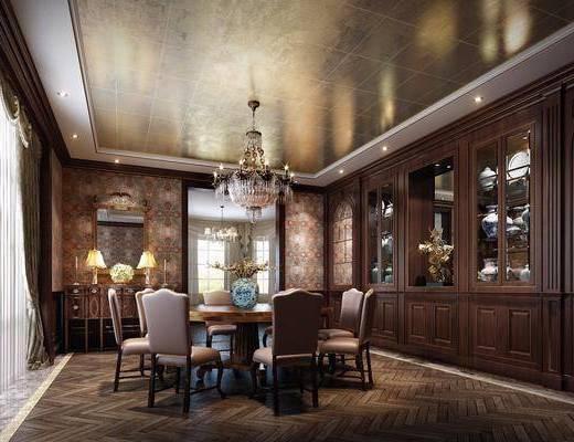 欧式古典餐厅, 欧式, 餐厅, 餐桌椅, 欧式吊灯, 酒柜, 花瓶