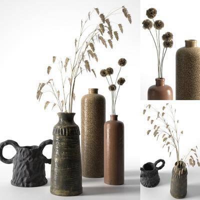 陶瓷陶罐, 陶瓷器皿, 摆件组合, 装饰品, 现代
