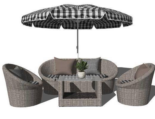 沙发组合, 遮阳棚, 单椅, 抱枕, 茶几